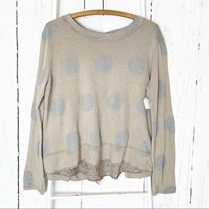 NWT Tempo Paris Tan and Silver Dotted Sweeter S/M
